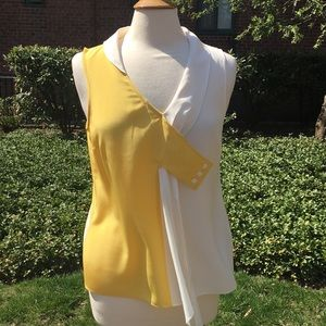 Maeve Yellow and Cream Dyad Silk Top